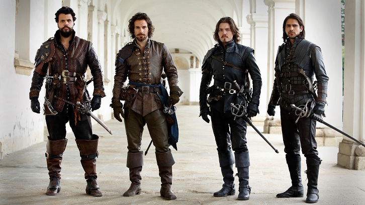 Picture Shows: Porthos (HOWARD CHARLES), Aramis (SANTIAGO CABRERA), Athos (TOM BURKE) , and D'Artagnan (LUKE PASQUALINO)